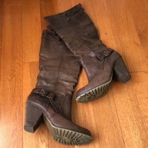 Aldo Tall Brown Leather Boots with Zipper and Heel